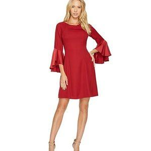 ADRIANNA PAPELL MATADOR RED DRESS W/ BELL SLEEVES